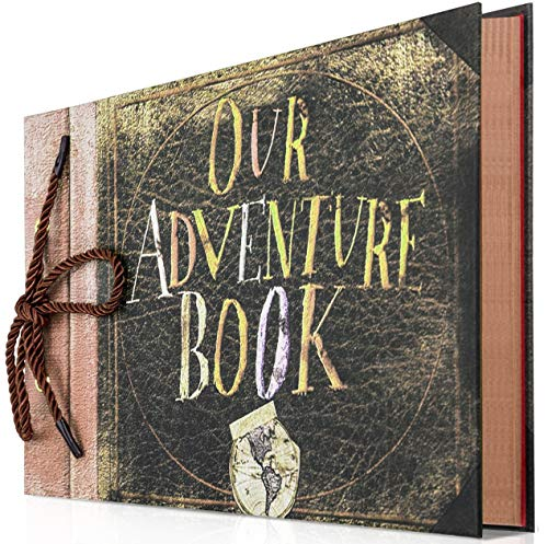Gotideal Photo Album Scrapbook, Our Adventure Book, DIY Handmade Album Scrapbook Movie Up Travel Scrapbook for Anniversary, Wedding, Travelling, Baby Shower (Travel Scrapbook)