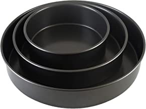 Chicago Metallic Professional Non-Stick 3-Piece Round Cake Pan Bakeware Set, Black