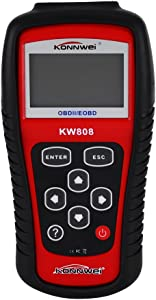 Auto Fault Code Reader  KW808 EOBD OBDII OBD2 Car Engine Check Diagnostic Fault Code Scanner Standard 16-Pin with Backlit LCD Screen