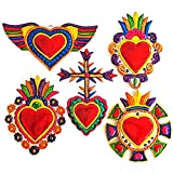 Mexican Hearts Milagros Mexicanos 5 Pieces Colorful Metal Charms Tin Folk Art Sacred Craft 6' Mexican Wall Decorations Ornaments Handmade