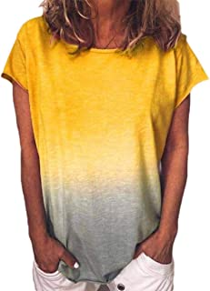 Yisism Women Short Sleeve Casual Gradient O-Neck Blouse Tops T-Shirt