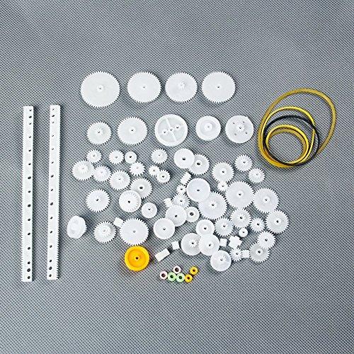LAOMAO 75 Stück Kunststoff Zahnräder Getriebe set Zahnrader Roboterteile Zubehör DIY