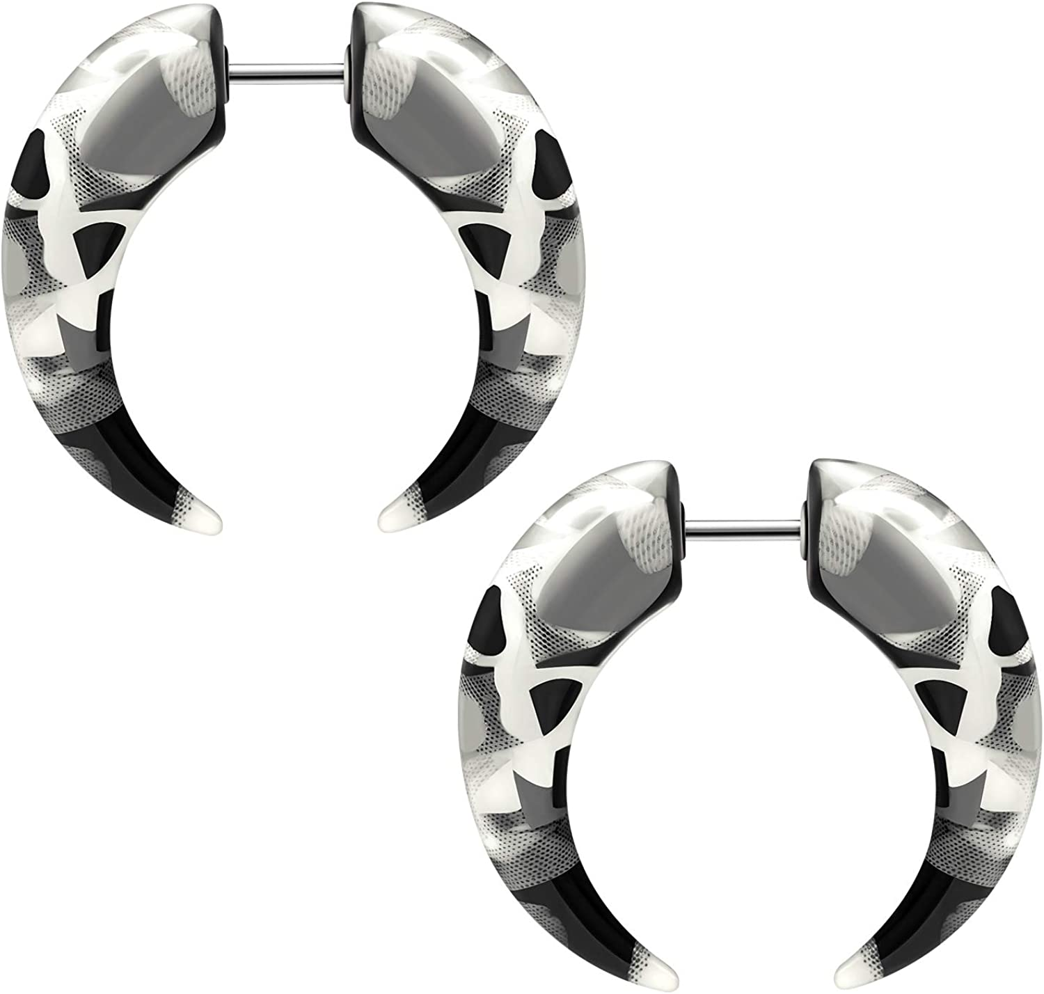 BIG GAUGES Pair of Acrylic Marble Spiral Claw Fake Steel Plugs Piercing Jewelry Fake Ear Plugs Illusion Cheater Earring Lobe