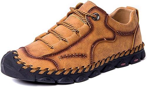 JUJIANFU-Chaussures Confortables Mocassins Occasionnels Occasionnels de Mode pour Les Hommes Slip Confortable sur Les Chaussures Formelles de Couleur Solide Beat Toe (Couleur   oren, Taille   48 EU)  haute qualité