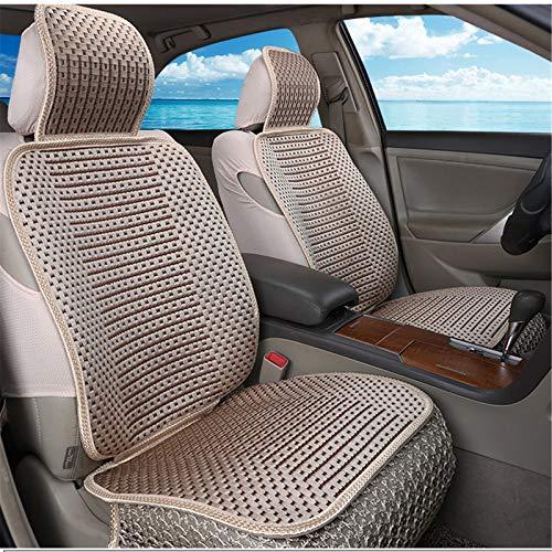 EET Cubierta de Asiento de Coche cómodo Transpirable Seda de Hielo Four Seasons Universal Compatible Airbag,Marrón
