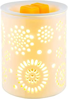 Electric Wax Melter COOSA Sunflower Pattern Ceramic Candle Warmer Wax Burner Melt Fragrance Warmer Incense Oil Warmer Night Light Aroma Decorative Lamp for Gifts, Decor for Home Office