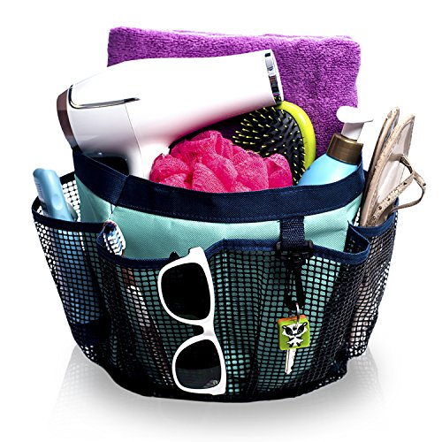 Fancii Portable Mesh Shower Caddy Tote for College Dorm Quick Dry 7 Large Storage Pockets Key Hook - Hanging Bath Toiletry Organizer Bag Travel Gym Camping