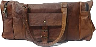 Madosh, Genuine Leather Holdall Bag Travel Luggage Vintage Garment Duffle Vacation Bag
