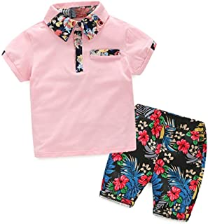 Vibola® Summer Children Baby Boys Polo Shirts Tops+Floral Pants Outfits Clothes