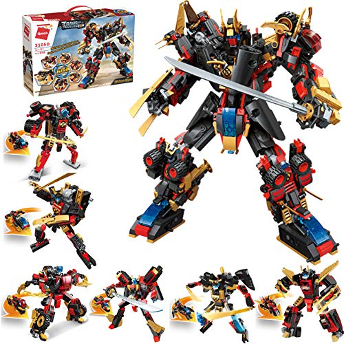 QLT STEM Robot Building Kids Toys, 908 PCS Mech Warrior, 12-in-1 Activities Robots Educational Bricks, Cool Toy Game for 8-12 Year Old Boys Girls Gift Set STEAM Learning Creative Blocks
