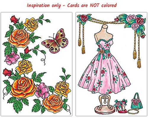 Art Eclect Adult Coloring Greeting Cards for Birthday, Anniversary and Every Occasion (10 Cards With 10 Different Unique Designs and 10 Colored Envelopes Included, Set A/Rainbow)