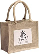 Mini Jute Gift Tote Bags w/Clear Pocket for Wedding Favors, Crafts, Decorations (3)