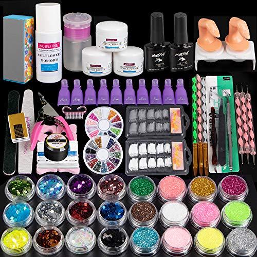 Acrylic Nail Kit Acrylic Powder and Liquid Set Glitter Clipper File Tips Nail Brush Gel Nail Remover Kit for Acrylic Nails Extension Nail Art Starter Kit
