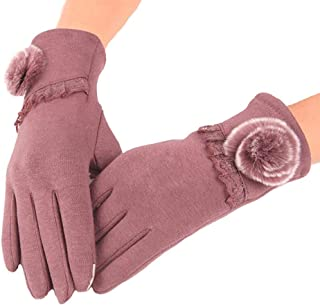 SGJFZD Women Autumn Winter Touchscreen Female Bow Gloves Fashion Touched Wrist Gloves for Women Thermal Gloves (Color : Pink, Size : OneSize)