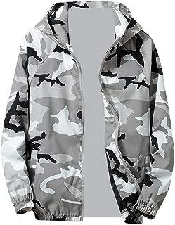 Teresamoon Mens Autumn Winter Zip Camouflage Long Sleeve Pocket Sport Hoodies Jacket Coat