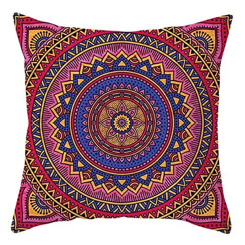 AtHomeShop Funda de cojín de 45 x 45 cm, de poliéster, con patrón étnico de mandala, suave, cuadrada, para dormitorio, oficina, sofá, decoración, color azul, rosa, fucsia, estilo 19
