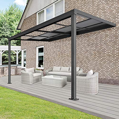 Home Deluxe - Terrassenüberdachung Deluxe - 400 x 300 x 218/272 cm - Farbe: grau - inkl. Schiebedachfunktion