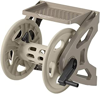Suncast Resin Wall Mounted Handler Hose Real - Durable Outdoor Hose Reel with Crank Handle and Storage Tray - 200' Hose Capacity - Taupe