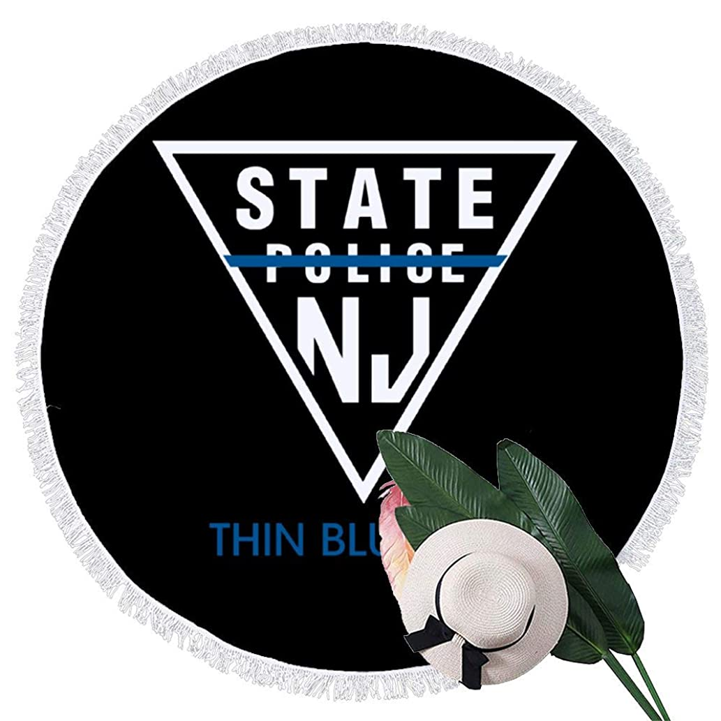 Beach Towel New Jersey State Police - Thin Blue Line Towels with Tassel Microfiber Oversized Round Picnic Mat Tapestry Table Cover Blanket