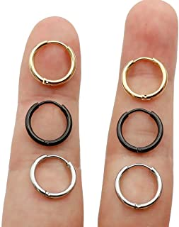 20G Unisex 18K Real Gold Plating Surgical Steel Sleeper Tiny Hoop Earrings,Nose Ring Septum Ring Helix Ring Daith Ring Lip Ring Nipple Ring Snug Ring Rook Ring Body Piercing Jewelry