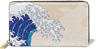 Women Leather Wallet Zipper Around Clutch Purse Waterproof Card Holder - Tokyo Wave