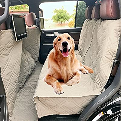 """Formosa Covers Quilted and Padded Dog Pet Car Seat Cover with Comforting Fabric and Non-Slip Backing Best for Car Truck and SUV - Travel with Your Pet Mess Free - Universal Fit 56"""" Wx94 L, Taupe"""