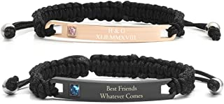 Jovivi Personalized Custom Stainless Steel Handmade Braided Rope Nameplate ID Bracelet His and Hers Matching Couples Bracelets Valentine's Gift for Lover
