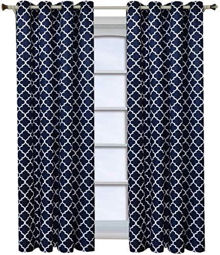 Royal Hotel Meridian Navy Grommet Room Darkening Window Curtain Panels, Pair/Set of 2 Panels, 52x108 inches Each