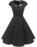 bbonlinedress women's vintage 1950s cap sleeve rockabilly cocktail dress multi-colored black small white dot m