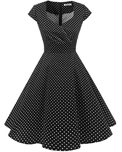 Bbonlinedress Vestido Corto Mujer Retro Años 50 Vintage Escote En Pico Black Small White Dot 2XL
