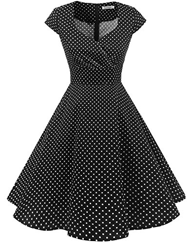 bbonlinedress 1950er Vintage Retro Cocktailkleid Rockabilly V-Ausschnitt Faltenrock Black Small White Dot L