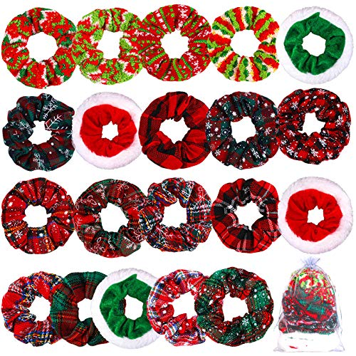 RUODON 20 Pieces Christmas Hair Scrunchies Soft Cotton Women Hair Tie Ropes Christmas Seasons Elastic Hair BandsWith Gift Bag Christmas Hair Accessories for Women Girls