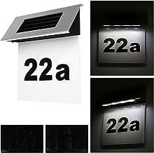 Alaskaprint Zonne-verlichte huisnummer met 4 leds, verlichting huisnummerlamp met LED-lamp, verlichte schemerschakelaar, b...