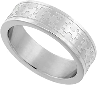 Surgical Stainless Steel 6 mm Autism Awareness Jigsaw Puzzle Wedding Band Ring, Sizes 5-9
