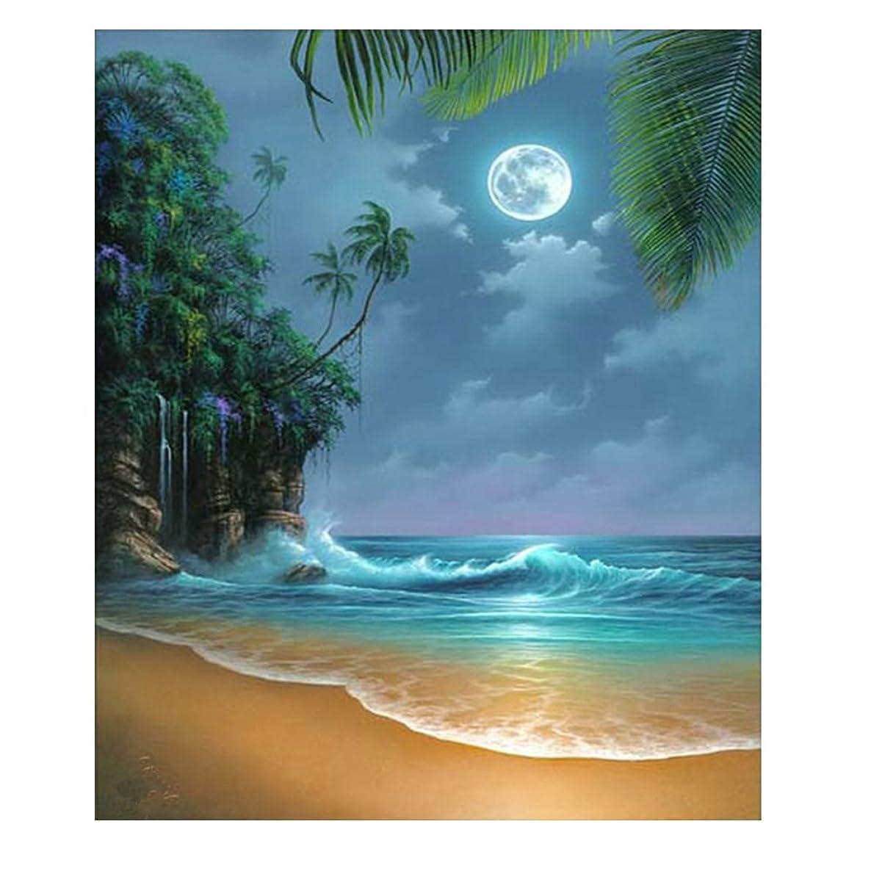 Mobicus 5D DIY Diamond Painting by Number Kits,Seaside Moon Beach(16X20inch/40X50CM)