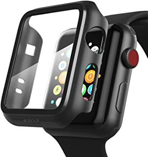 pzoz Compatible Apple Watch Series 2 & 3 Case with Screen Protector 42mm Accessories Slim Guard Thin Bumper Full Coverage Matte Hard Cover Defense Edge for Women Men New Gen GPS iWatch (Black)