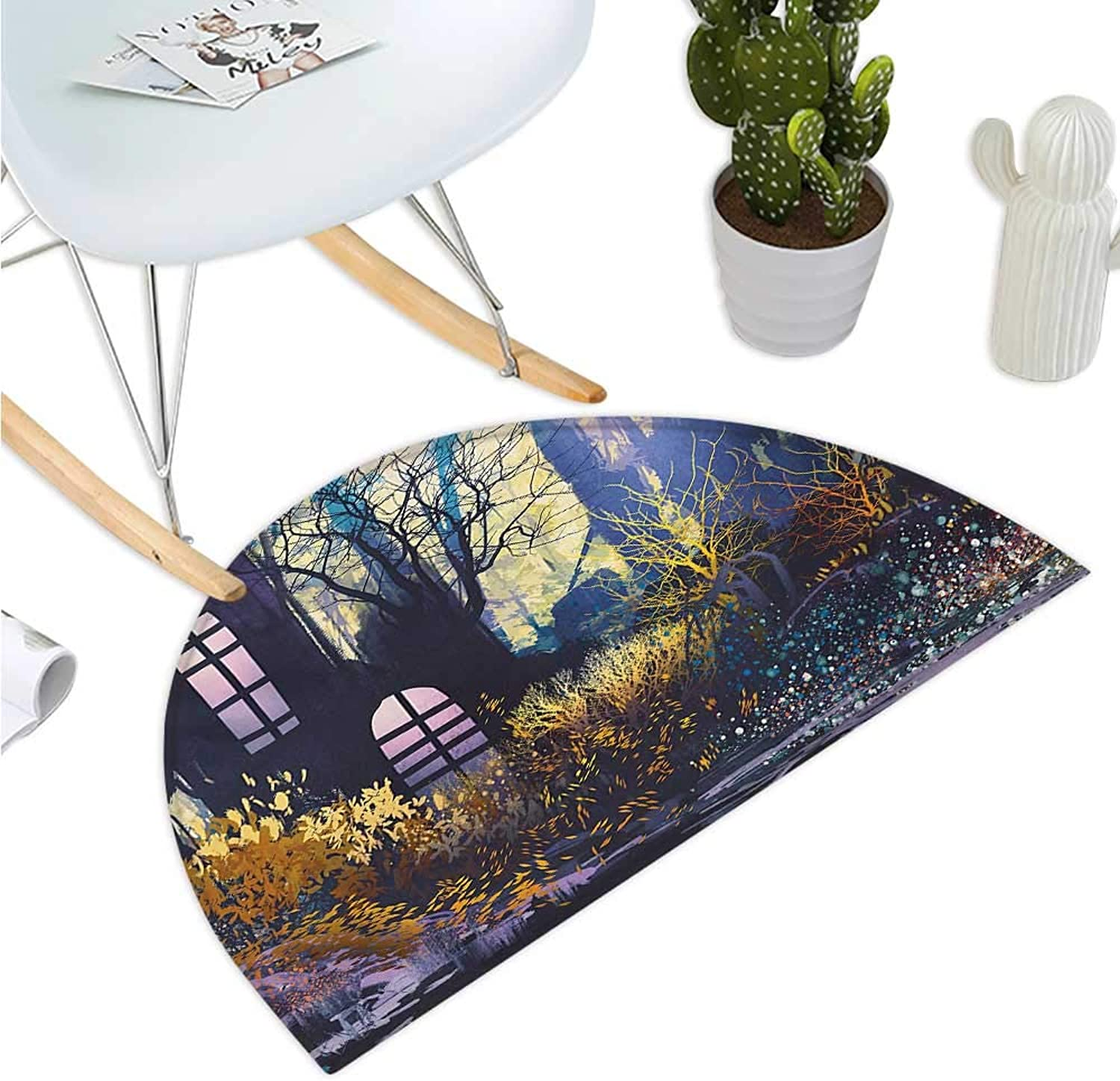 Fantasy Semicircle Doormat Mystical House in Tree Trunk with Windows Ancient Lost City Animation Nature Print Halfmoon doormats H 43.3  xD 64.9  Multicolor