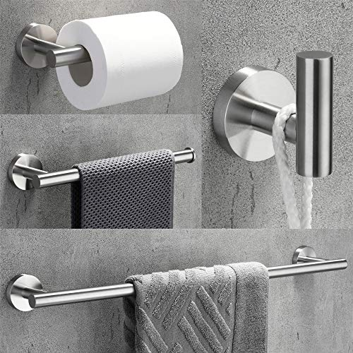 VELIMAX 18/8 Stainless Steel 4-Piece Bathroom Hardware Set Modern Round Towel Bars Wall Mounted Bathroom Fixtures Kit, 23.6-Inch, Brushed Finish