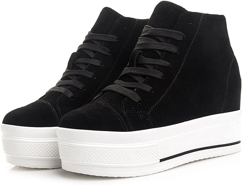 Btrada Womens High Top Casual Sneaker Lace-Up Heel Increase Hidden Walking Canvas Sneaker Boots shoes