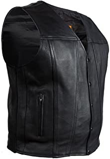 Dream Men's Motorcycle Club Plain Leather Vest with 2 Gun Pockets & Single Panel Back