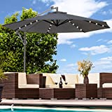 Swing & Harmonie Sonnenschirm mit LED Beleuchtung Ampelschirm 300cm / 350cm Solar Garten Schirm Pavillon (Ø 350cm, Anthrazit)
