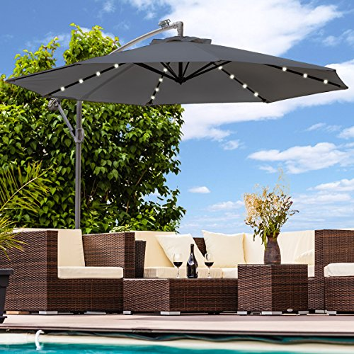 Swing&Harmonie Sonnenschirm mit LED Beleuchtung Ampelschirm 300cm / 350cm Solar Garten Schirm Pavillon (Ø 350cm, Anthrazit)