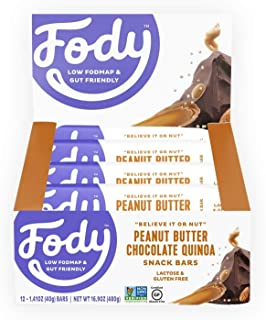 Fody Foods Vegan Protein Nut Bars | 8g Protein Snack Bar | Low FODMAP Certified | Gut Friendly IBS Friendly Snacks | Gluten Free Lactose Free Non GMO | Peanut Butter Chocolate Quinoa, 12 Count