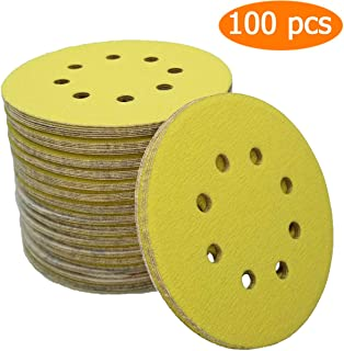 Sackorange 100 Pcs 5-Inch 8-Hole 400 Grits Dustless Hook-and-Loop Sanding Disc Sander Round Sandpaper For Woodworking or Automotive (400 Grits,Pack of 100)