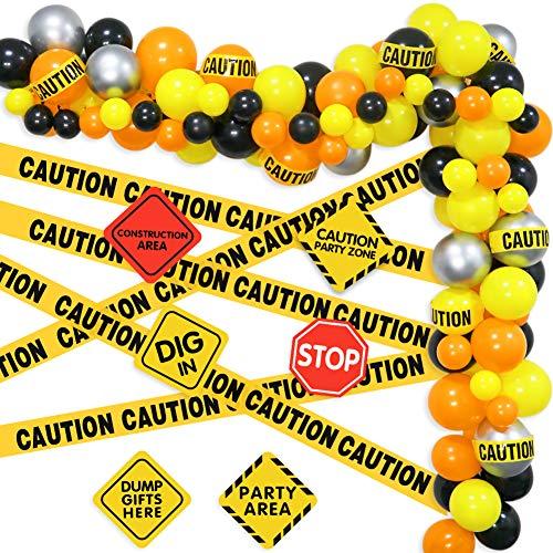 K KUMEED Construction Theme Balloon Garland kit, Orange Black Yellow Balloons, Construction Signs, Caution tape for Quarantine Construction Birthday Party Decorations