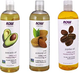 Now Foods Variety Moisturizing Oils Sampler: Sweet Almond, Avocado, and Jojoba Oils (16 oz each)