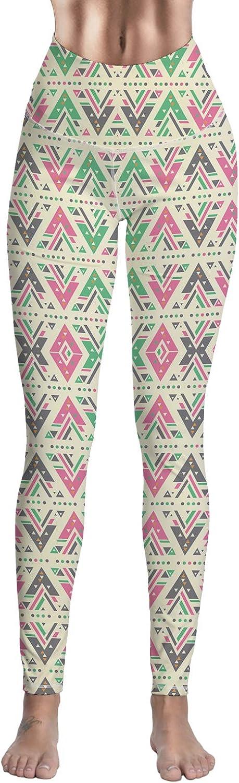 SODIKA Women's Yoga Capri Legging Inner Pocket Pants Digital Print Compression Leggings Geometric Triangle Pattern