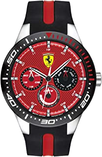 Ferrari RedRev, Quartz Stainless Steel and Silicone Strap Casual Watch, Black, Men, 830588