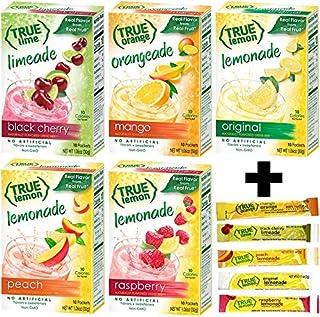 True Lemon Assorted Beverage Pack: (5boxes 10ct each) with 5 FREE BONUS Sticks of Lemonade! True Lemon Original Lemonade, ...