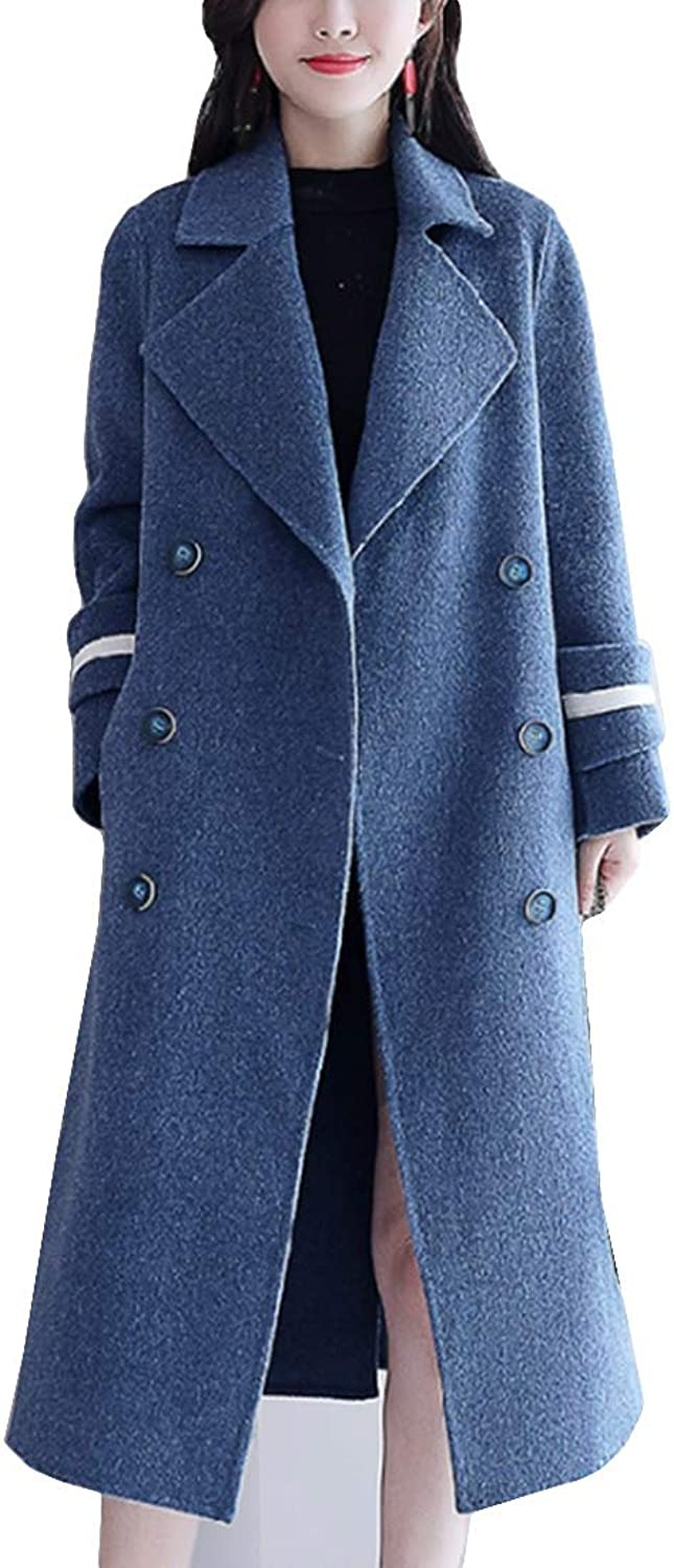 MFrannie Women Double Breasted Slim Fit Notched Lapel Pea Coat Winter Jacket Long